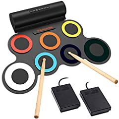 PORTABLE AND PROFESSIONAL DRUM: Includes 1 SNARE, 3 TOMS , 1 CRASH, 1 RIDE, 1 HI-HAT; 2 Foot Pedals play sound of Bass Drum; 5 Timbres; 8 DEMO Songs; 3 Rhythms RECHARGEABLE BATTERY: This drum is powered by a 2400mAh rechargeable battery, up to 10 hou...