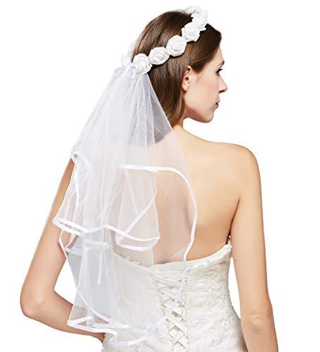Coucoland Braut Schleier Fascinator Blumen Kranz mit Schleier Haarband für Hochzeit Bachelorette Party Fotografie Junggesellenabschied Accessoires Geschenk für Brautjungfer (Stil 2)