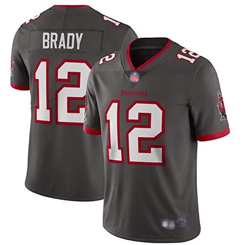 ILHF Brady#12 American Football Rugby Trikots Piraten Brady #12 Jersey Atmungsaktiv Outdoor Casual T-Shirts Trocknen Spiel Jersey Herren Gr. M, grau