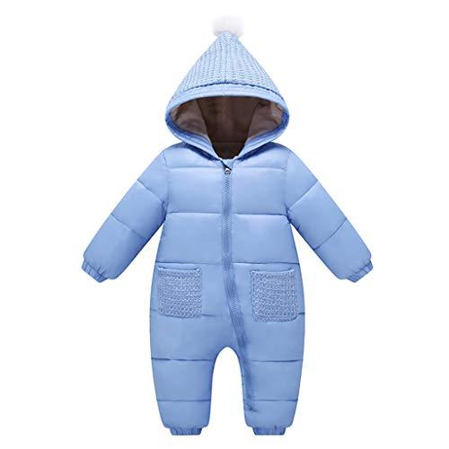 Bebé Mono Mameluco de Invierno Traje de Nieve Espesar peleles con capucha - Azul, 6-12 Meses