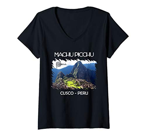 Damen Vintage Peru Shirt Cusco Machu Picchu Llama Jersey Souvenir T-Shirt mit V-Ausschnitt