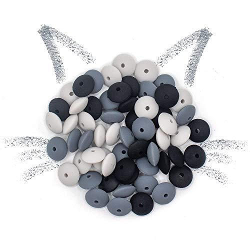 RUBY 12mm 60pcs Baby Silikon BeißRing Perlen Schnullerkette Silikonperlen ZubehöR Silikon Kugeln Lose Perlen Kinder Kauen Teething Beads Set (Geheimnisvolles Königreich, Abakus)