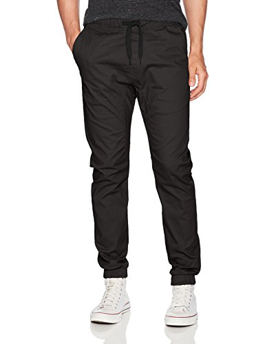 WT02 Men's Jogger Pants in Basic Solid Colors and Stretch Twill Fabric, Black(New), Small