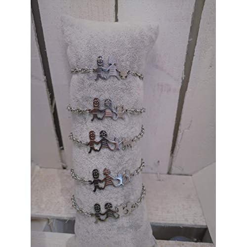 Bracciale famiglia family con sagoma famiglia in acciaio inossidabile, regolabile. Handmade, realizzato a mano, 33 combinazioni disponibili.