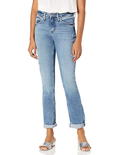 Silver Jeans Co. Women's Beau High Rise Slim Leg Jeans, Distressed Medium Eco Wash, 36W x 29L