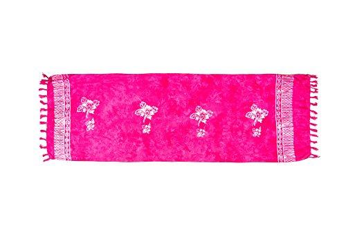 MANUMAR Damen Sarong Blickdicht als Mini-Rock (155x55cm) | Kinder Pareo Strandtuch mit Schnalle | Leichtes Wickeltuch in pink mit Hibiscus-Motiv mit Fransen/Quasten für Kinder | Bikini | Bali