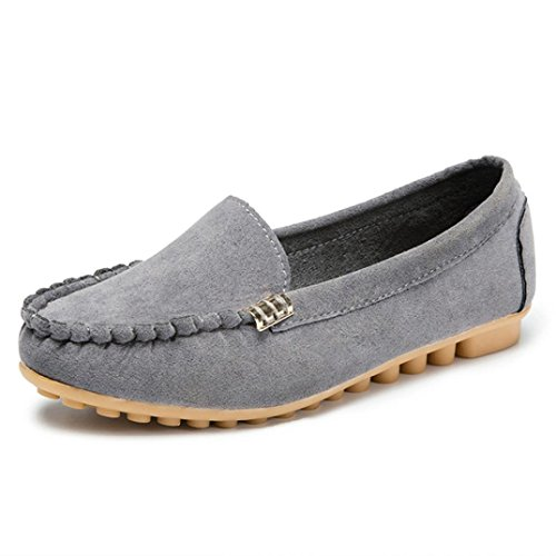 D-XinXin Lady's Plain and Comfortable Flat Shoes, Women's Flats Ladies Comfy Ballet Shoes Soft Slip-On Casual Boat Shoes (Gray, 6)