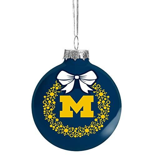 FOCO NCAA Wreath Glass Ball Christmas Tree Ornament-2 5/8'-Michigan Wolverines