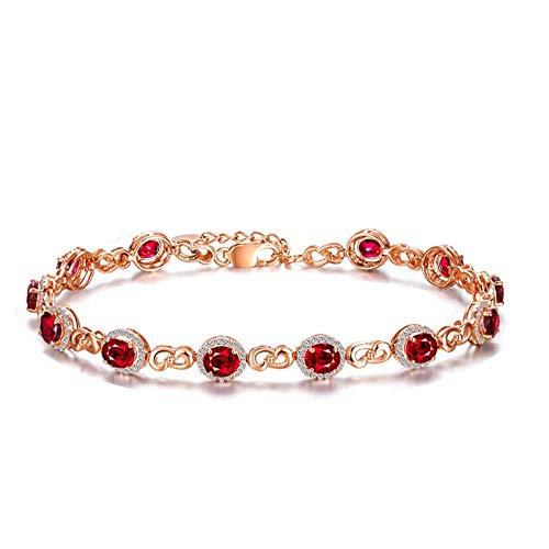 Daesar Pulseras de Oro Rosa Mujer 17 CM Rubí 0.27 ct Diamante Pulseras Mujer Oro Rosa 18K