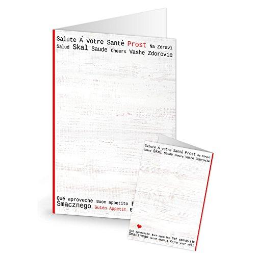 Logboek-uitgeverij rood wit zwarte dranken kaarten prost santé salute barkaarten leeg beschrijfbaar menukaarten blanco tafelstandaard gastronomie 20 Stück rood/wit