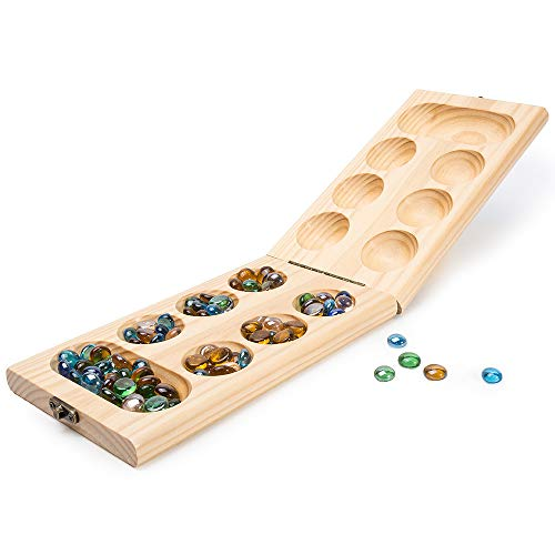 Mancala Board Game Set with Folding Wooden Board & Multi Color Glass Stones, Portable Travel Board Game for Kids and Adults