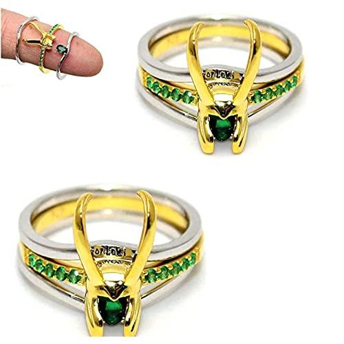 ZDDO Loki Ring - Three-In-One 925 Silver Thor Ring - Raytheon Thor Silver Ring Jewelry Hombres Mujeres JoyeríA Regalos 2pcs