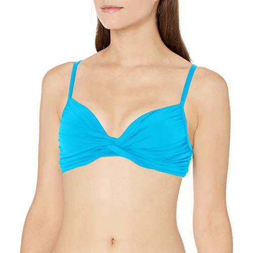 La Blanca Women's Island Goddess Twist Front Bandeau Bra Bikini Swimsuit Top, Poolside, 16
