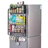 Rejilla del refrigerador Rack de pared lateral de refrigerador de gran capacidad, estante de condimento de accionamiento de accionamiento de la pared montado en la pareada de almacenamiento de refrige
