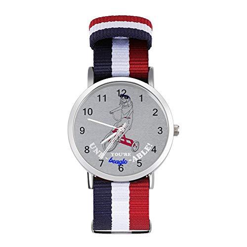 Unerträglicher Beagle auf Dreirad Freizeit Armband Uhren Geflochtene Uhr mit Skala