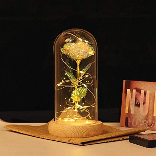 WYDM Luz de Rosa LED, Flor de Rosa de Seda Artificial con Luces de Cadena LED, Lámpara de Rosa encantada para la Boda del día de la Madre (Ba de Madera Beige