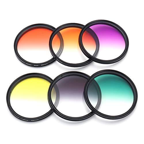 MYAMIA 6Pcs / Set 58mm Kit De Filtro De Color Graduado Cámara Lente para Canon EOS 1100D 600D