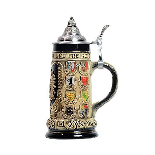 Hao-zhuokun Jarra de Cerveza Jarra de Cerveza Medieval con Tapa,Jarra de cerámica Multicolor en Forma de Jarra Jarra de Cerveza,día del Padre,Navidad G