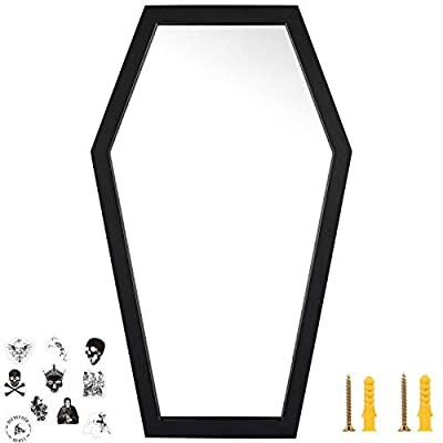 Coffin Mirror - Gothic Decor For Bedroom ,Living Room or Bathroom - Hooks and Hardware Included - Large and Sturdy - Wooden Wall Mirror - Black - 20x12 inches by HanSoar