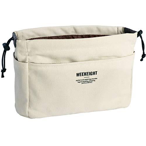 Yoillione Taschenorganizer Bag in The Bag Organizer Klein,Innentaschen für Handtaschen Organizer Handtasche Einsatz Tascheneinsatz für Damen,Handtaschenorganizer Klein,Canvas Material/Beige