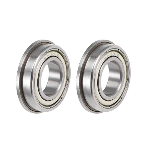 sourcing map F6901ZZ Flanged Ball Bearing 12x24x6mm Shielded Chrome Steel Bearings 2pcs