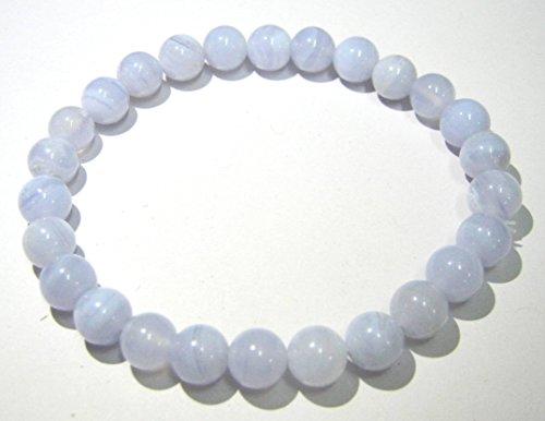 Hermoso color azul encaje Ágata Piedra 7mm cuentas redondas de pulsera Fashion joyería hombres mujeres regalo Wicca de la energía cristal curación chakra de la garganta salud riqueza