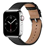 Lovrug Band Compatible with Apple Watch Band 44mm 42mm 45mm SE/Series 7/6/5/4/3/2/1 Genuine Leather Business Replacement Band Smart Watch Strap for Men Women(Black/Silver,42mm/44mm/45mm)