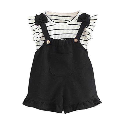 Janly Clearance Sale Conjunto de trajes para niñas de 0 a 24 meses, camiseta sin mangas a rayas + tirantes cortos Set para niños grandes de 18 a 24 meses (negro)