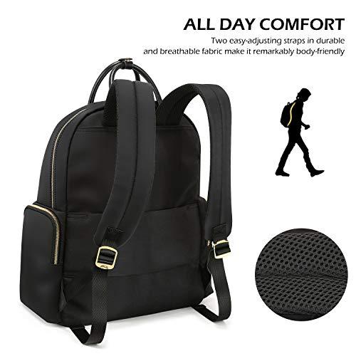 TUCCH Women Laptop Backpack, 14 Inch Lightweight Computer Rucksack, Lady Fashion Casual Daypack Purse Business Travel Shoulder Work Bag, Water Resistant Wide Open Nylon School Bag for Girl 22L, Black