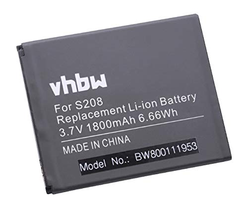 vhbw Akku passend für Cubot S208 Handy Smartphone Telefon (1800mAh, 3,7V, Li-Ion)