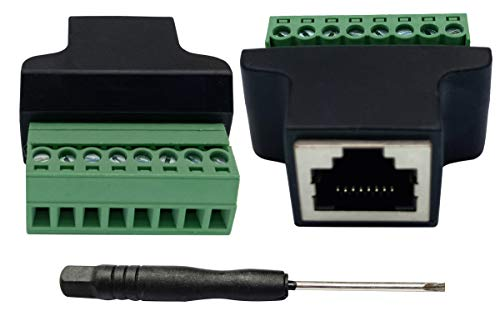 AAOTOKK RJ45 Screw Terminal RJ45 8P 8C Female to 8Pin Female Bolt Screw Type terminals Ethernet Net Network Plug for AV CCTV UTP DVR Cat5 Cat6 Cat7 Coupler(2 Pack/Female)