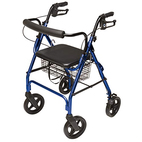 Graham-Field Lumex Aluminum Four Wheel Rolling Walker Rollator with Curved Back Wheels And Carrying Basket, 8-Inches, Royal Blue RJ4805B