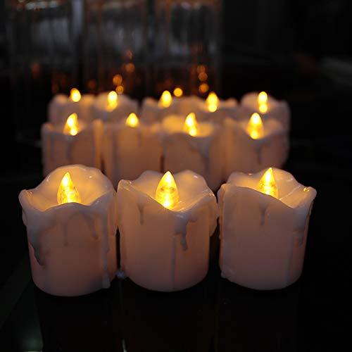 Juego de 4 velas LED de té con 8 temporizadores sin llama, luz LED, velas de Navidad falsas decorativas de plástico, mecha negra, 6 horas