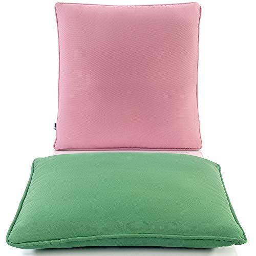 Cojines Exterior Impermeable - Cojin Exterior Relleno Cojines Verde y Rosa 2X 40x40 cm - Cojín de Jardín