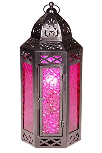 Linterna Oriental de Metal y Cristal Liyana 30 cm de Altura Púrpura | Luces de Viento marroquí | Faro de Cristal para Interior | Lámpara para Exterior | Linterna de jardín