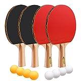JOYJ Palas Ping Pong, Table Tennis Set con Raquetas + Pelotas de Ping Pong...