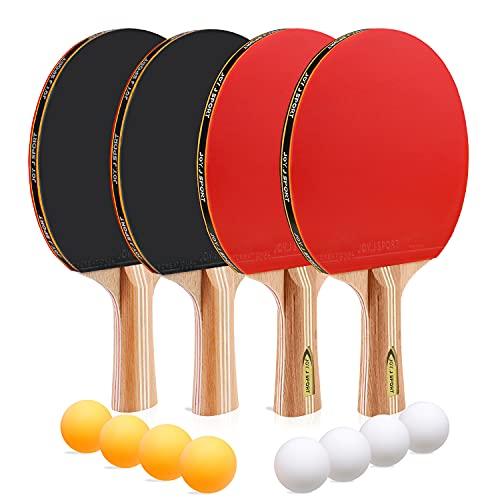 JOYJ Palas Ping Pong, Raquetas de Ping Pong Aptas para Niños y Principiantes, Tenis de Mesa Set con Raquetas + Pelotas + Estuche Portátil, Table Tennis Set Familiar para Interior y Exterior