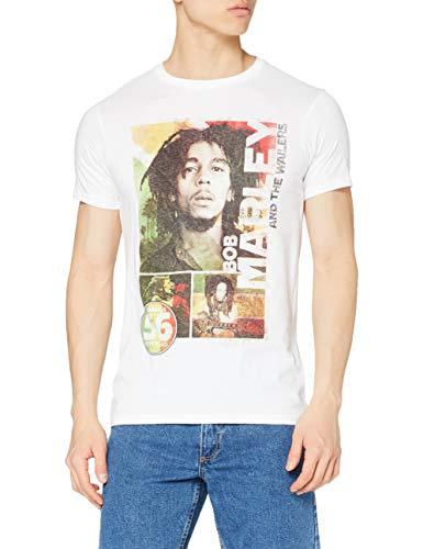 Camiseta Bob Marley 56 Hope Road Rasta para Hombre, Blanco, Medium