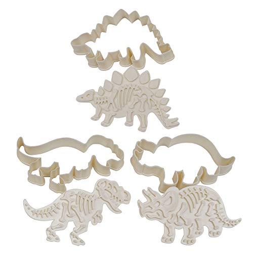 Dinosaurier Ausstechformen Set - 3 Stücke Acryl Ausstecher mit Stempel für Kuchen Backen und Fondant -Dinosaurier Form Backformen Set für Plätzchen - Keksstempel für Kinder