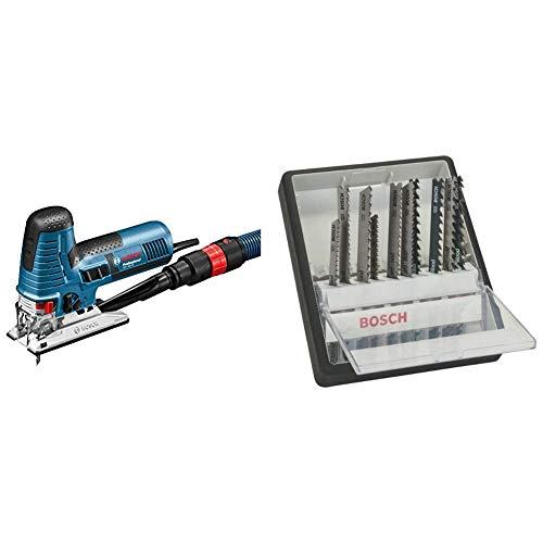 Bosch Professional - Sierra de calar GST 160 CE (800 W, 240 V, L-BOXX) + Bosch 2 607 010 540 - Juego de 10 hojas de sierra de calar Robust Line Wood Expert