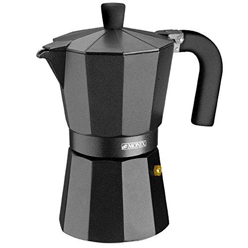 Monix Vitro Noir – Cafetera Italiana de Aluminio, Capacidad 9 Tazas, Apta para Todo Tipo de cocinas Salvo inducción (Braisogona_M640009)