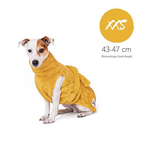 Lill's Hundebademantel, 100% Bio-Baumwolle, Organic Amber (Gelb) (XXS)