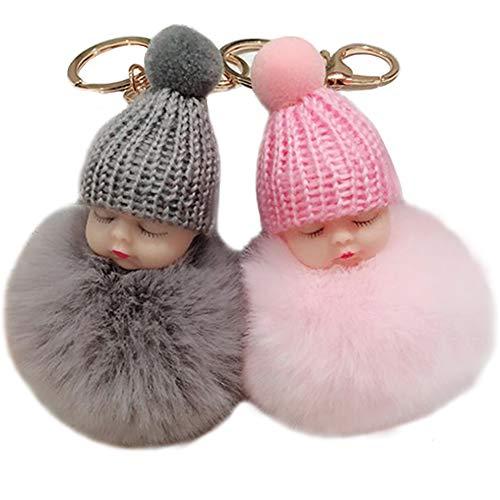 yyuezhi Mini Baby Puppe Keychain Plüsch Schlüsselanhänger Baby Puppe Keychain Taschenanhänger Bommel Anhänger Handtasche Anhänger Niedlichen Puppe Modellierung Anhängeranhänger Schlüsselbund 2 Stück