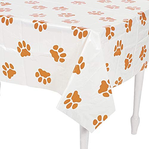 PUPPY PAWPRINT PLASTIC TABLECOVER - Party Supplies - 1 Piece