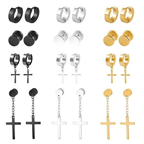 12 Pares Aretes Pendientes Piercing de Acero Inoxidable para Hombres Mujers Unisex Pendientes Oro Plata Negro Cruz Colgante Redondo Earrings