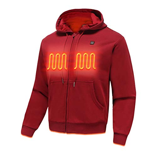 MYHEAT Heated Hoodie for Men Electric Sweater Heavyweight Fleece Sweatshirt with Battery (Wine Red,L)