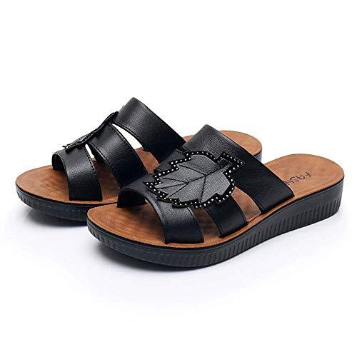 Liuchang - Zapatillas de piel para mujer, antideslizantes, resistentes al desgaste, ligeras, para mujer, color rojo, 35 liuchang20 (color: negro, tamaño: 37)