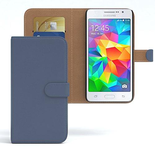 EAZY CASE Tasche für Samsung Galaxy Grand Prime Schutzhülle mit Standfunktion Klapphülle im Bookstyle, Handytasche Handyhülle Flip Cover mit Magnetverschluss und Kartenfach, Kunstleder, Dunkelblau