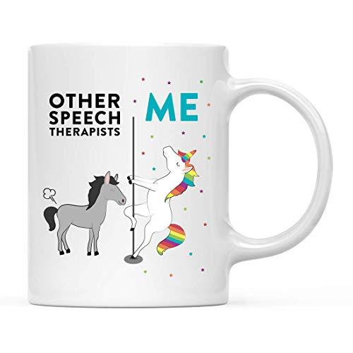 Taza de té de café de cerámica peculiar y divertida, regalo de agradecimiento, otros terapeutas del habla, yo, caballo unicornio, 1 paquete, ideas de regalo de cumpleaños y Navidad, compañero