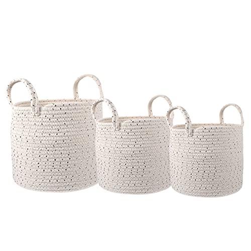 STOBOK 3 cestas decorativas de algodón tejidas para la colada, cesta para la colada, cesta para la sala de estar, cestas de almacenamiento redondas para almohadas, toallas, S M L